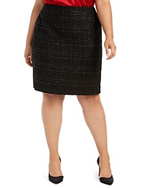 Plus Size Tweed Pencil Skirt