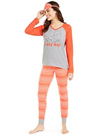 Knit Pajamas & Sleep Mask 3pc Set, Created for Macy's