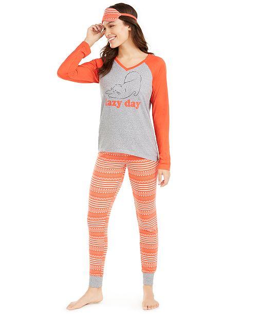 Jenni Knit Pajamas & Sleep Mask 3pc Set, Created For Macy's