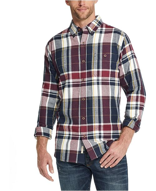 Weatherproof Vintage Men's Exploded Flannel Plaid Shirt