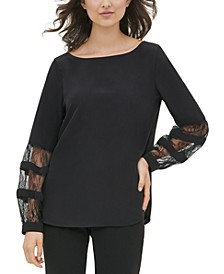 Lace-Inset Boat-Neck Top