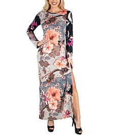 Women's Form Fitting Floral Long Sleeve Side Slit Maxi Dress