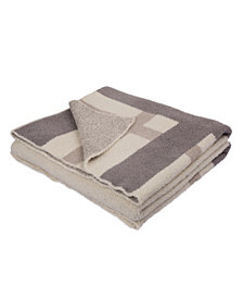 Glitzhome Knitted Geometric Pattern Feather Yarn Throw Blanket