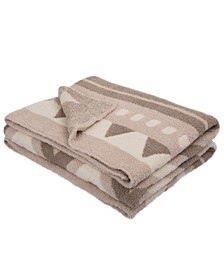Knitted Geometric Pattern Feather Yarn Throw Blanket