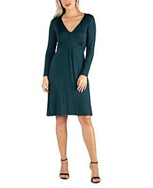 Women's V-Neck Long Sleeve Professional Dress