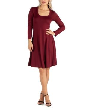 24seven Comfort Apparel Womens Long Sleeve Flared T-Shirt Dress