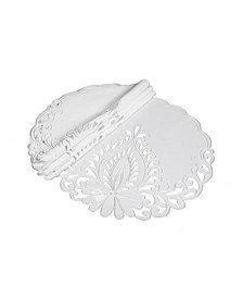 "Wilshire Embroidered Cutwork Round Placemats, 16"" Round, Set of 4"