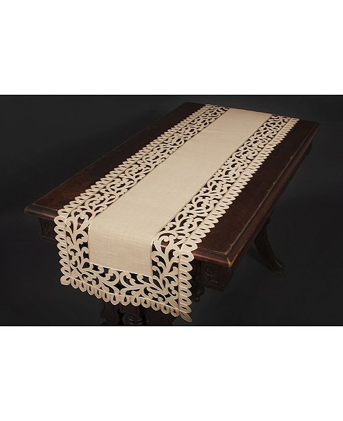 "Xia Home Fashions Vine Embroidered Cutwork Table Runner, 16"" x 36"""