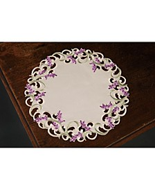"""Lavender Lace Embroidered Cutwork Round Placemats, 15"""" Round, Set of 4"""