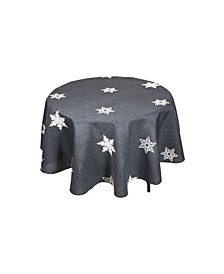 Glisten Snowflake Embroidered Christmas Round Tablecloth, 70""