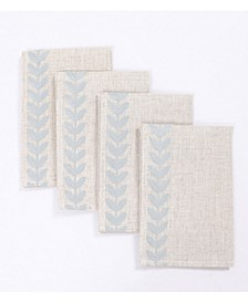 """Cute Leaves Crewel Embroidered Napkins 20"""" x 20"""", Set of 4"""