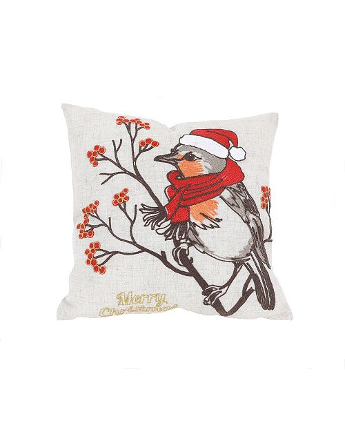 "Manor Luxe Merry Christmas Bird Crewel Embroidered Pillow, 14"" x 14"""