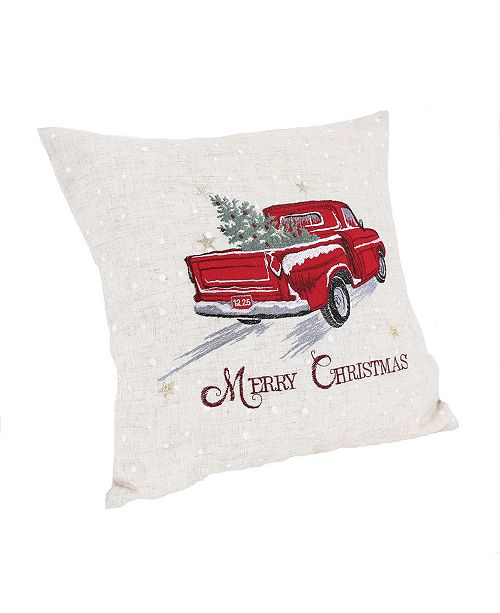 """Manor Luxe Merry Christmas Truck Embroidered Pillow 14"""" x 14"""""""
