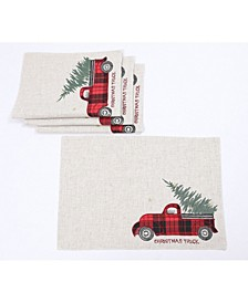 "Vintage Tartan Truck with Christmas Tree Placemats 14"" x 20"", Set of 4"