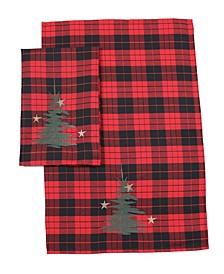 "Christmas Tree Decorative Tartan Towels 14"" x 22"", Set of 2"