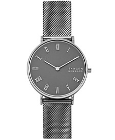 Women's Hald Gunmetal Stainless Steel Mesh Bracelet Watch 34mm