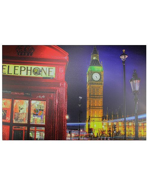 "Northlight LED Lighted Famous Big Ben and Telephone Box London Canvas Wall Art, 15.75"" x 23.5"""