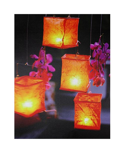 "Northlight LED Lighted Flickering Garden Lantern Candles with Orchids Canvas Wall Art, 15.75"" x 11.75"""