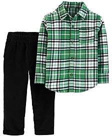 Toddler Boys 2-Pc. Cotton Plaid Shirt & Corduroy Pants Set