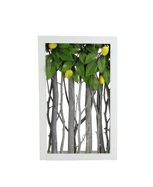 "Northlight Birch Branch Lemon Tree Rustic Wooden Frame Decoration, 14.5"" x 9"""