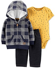 Baby Boys 3-Pc. Plaid Hoodie, Arrow-Print Bodysuit & Pants Set