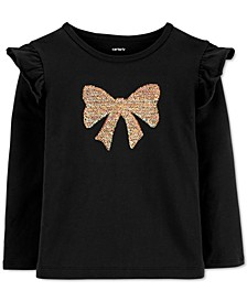 Toddler Girls Sequin Bow Top