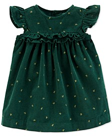 Baby Girls Bow-Print Corduroy Cotton Dress