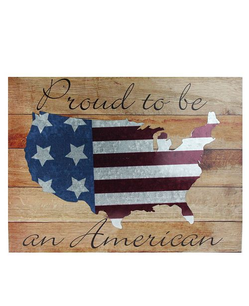 """Northlight Stars and Stripes Proud to be an American Wooden USA Map Decorative Wall Art, 12"""" x 15.75"""""""