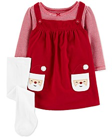 Baby Girls 3-Pc. Santa Jumper, Striped Bodysuit & Footed Tights Set