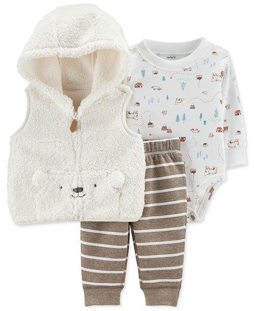Carter's Baby Boys 3-Pc. Faux-Fur Hooded Vest, Printed Bodysuit & Striped Pants Set