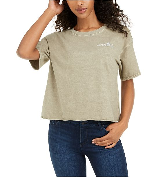 O'Neill Juniors' Cotton Raw-Hem T-Shirt