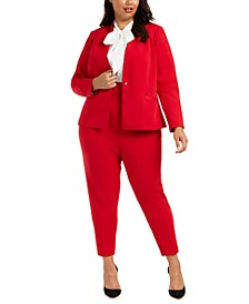 Plus Size Single-Button Blazer, Bow-Neck Blouse & Pleated-Waist Pants