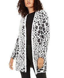 Animal-Print Eyelash-Texture Cardigan, Created For Macy's
