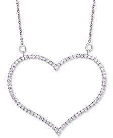 "Diamond Open Heart Pendant Necklace (3/4 ct. t.w.) in Sterling Silver, 16"" + 2"" extender"