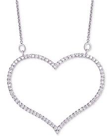 "Diamond Open Heart Pendant Necklace (3/4 ct. t.w.) in Sterling Silver, 16"" + 2"" extender"