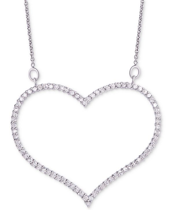 "Macy's Diamond Open Heart Pendant Necklace (3/4 ct. t.w.) in Sterling Silver, 16"" + 2"" extender"