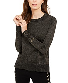 Metallic Tie-Sleeve Sweater, Regular & Petite Sizes, Created for Macy's