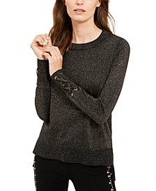 Michael Michael Kors Metallic Tie-Sleeve Sweater, Regular & Petite Sizes, Created for Macy's