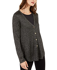 Petite Metallic Shirttail Cardigan Sweater, Created For Macy's