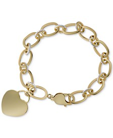 Diamond Heart Tag Charm Bracelet (1/10 ct. t.w.) in 14k Gold-Plated Sterling Silver