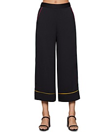 Piped Wide-Leg Pants
