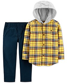 Baby Boys 2-Pc. Cotton Hooded Plaid Flannel Shirt & Canvas Pants Set