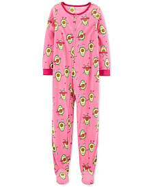 Little & Big Girls 1-Pc. Avocado Fleece Footie Pajamas