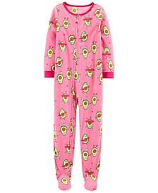 Little & Big Girls 1-Pc. Avocado Fleece Footie Pajamas