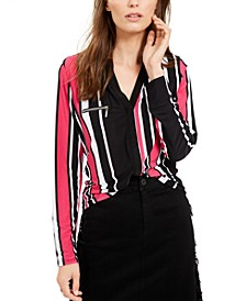 INC Petite Striped Zip-Pocket Top, Created for Macy's