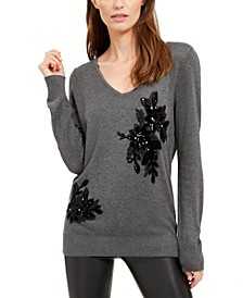 INC Velvet Appliqué Sweater, Created For Macy's