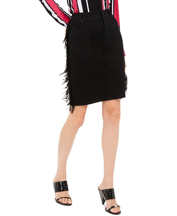 INC International Concepts - Fringe-Trim Denim Skirt