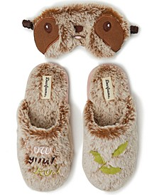 Women's Faux-Fur Scuff Slippers & Eye Mask, Online Only