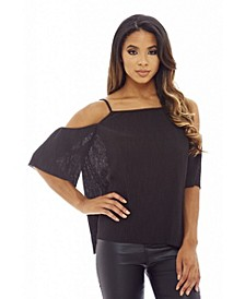 Women's Micro Pleated Cold Shoulder Top