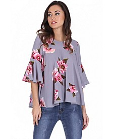 Women's Floral Frilled Sleeved Top